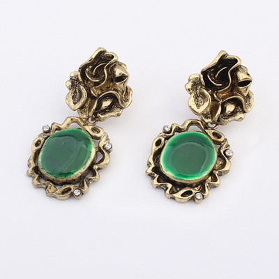 Hiphop Green Hollow Out Round Shape Decorated Alloy Korean Earrings