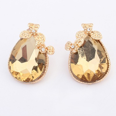 Monogram Gold Color Two Clover Gemstone Decorated Design Alloy Stud Earrings