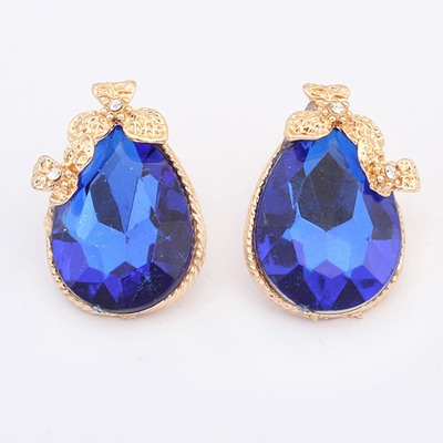Rave Sapphire Two Clover Gemstone Decorated Design Alloy Stud Earrings