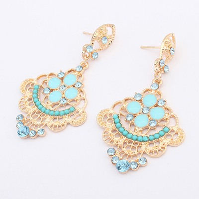 Dickie Blue Hollow Out Fan Shape Design Alloy Korean Earrings