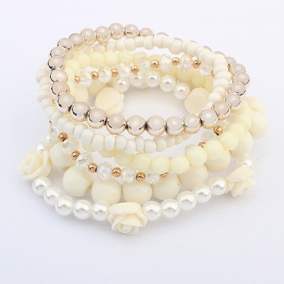 Fashion Beige Multilayer Weave Bead Design Alloy Fashion Bangles