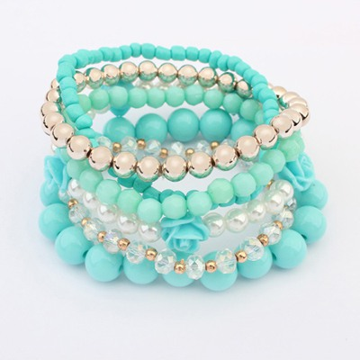 Infant Light Blue Multilayer Weave Bead Design Alloy Fashion Bangles