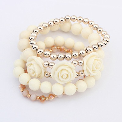 Rugged Beige Rose Decorated Design Alloy Fashion Bangles