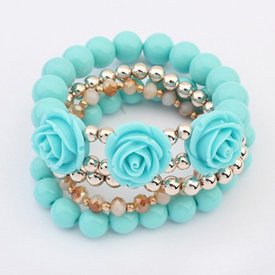 Lovable Blue Rose Decorated Design Alloy Fashion Bangles