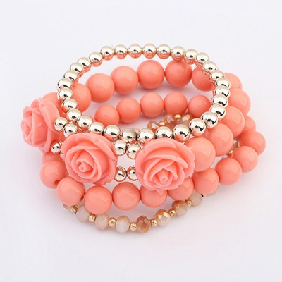 Slim Peach Red Rose Decorated Design Alloy Fashion Bangles
