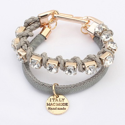 Invicta Gray Diamond Decorated Doubler Layer Design Alloy Korean Fashion Bracelet
