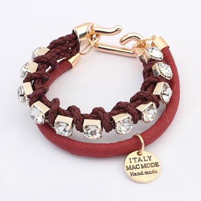 Faddish Claret-Red Diamond Decorated Doubler Layer Design Alloy Korean Fashion Bracelet