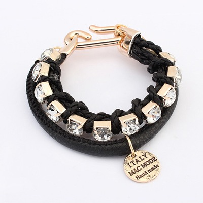 Initial Black Diamond Decorated Doubler Layer Design Alloy Korean Fashion Bracelet