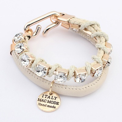 Graduated Beige Diamond Decorated Doubler Layer Design Alloy Korean Fashion Bracelet
