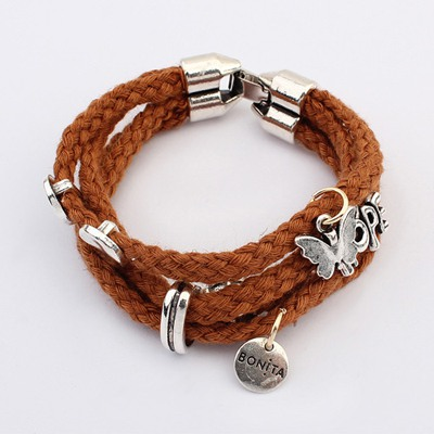 Fantastic Coffee Multilayer Hemp Flower Weave Design Alloy Korean Fashion Bracelet