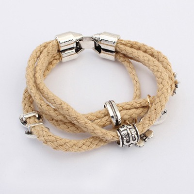 Japanese Beige Multilayer Hemp Flower Weave Design Alloy Korean Fashion Bracelet
