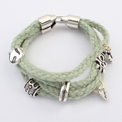 Plussize Green Multilayer Hemp Flower Weave Design Alloy Korean Fashion Bracelet