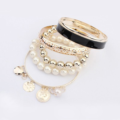 Childrens Black Multilayer Pearl Decorated Design Alloy Fashion Bangles