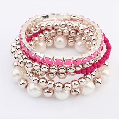 2011 Plum Red Multilayer Weave Beads Design Ccb Fashion Bangles