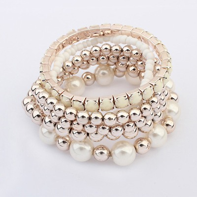 Puppy Beige Multilayer Weave Beads Design Ccb Fashion Bangles