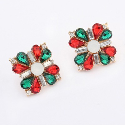 Vibrating Multicolor Square Shape Cross Decorated Alloy Stud Earrings