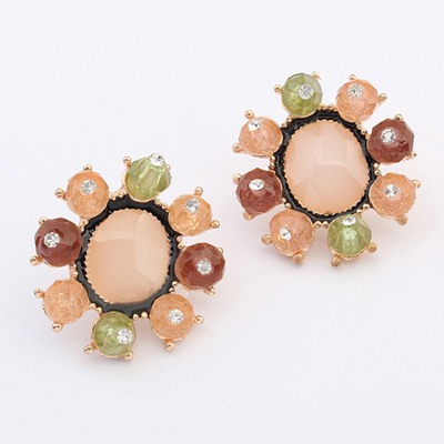 Oval Multicolor Round Shape Simple Design Alloy Stud Earrings