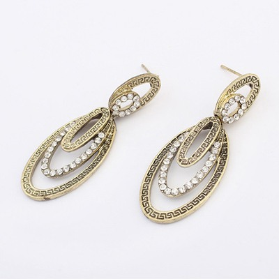Wide Antique Silver Hollow Out Oval Shape Design Alloy Korean Earrings
