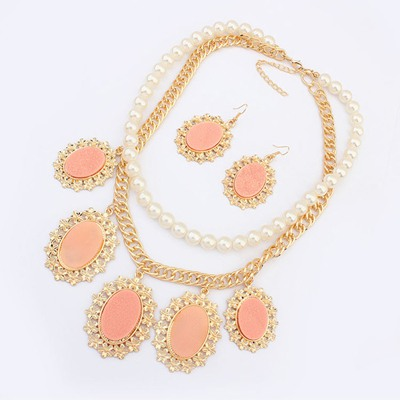 Oversized Pink Oval Gemstone Pendant Design Alloy Jewelry Sets