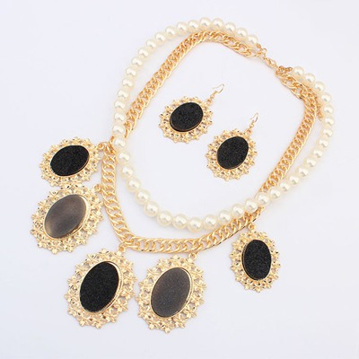Hemp Black Oval Gemstone Pendant Design Alloy Jewelry Sets