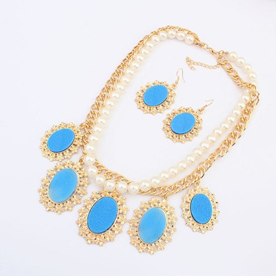 Sullen Blue Oval Gemstone Pendant Design Alloy Jewelry Sets