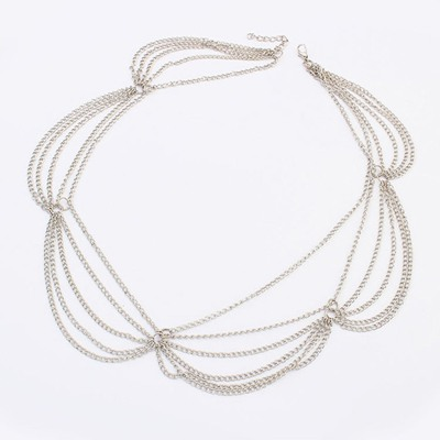 Aluminium Silver Multilayer Chain Simple Design Alloy Hair band hair hoop