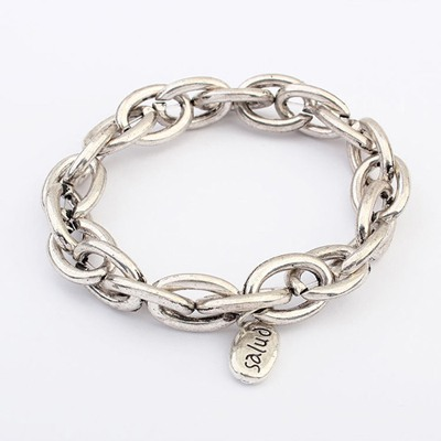 Luxury Silver Chain Buckle Simple Design Alloy Korean Fashion Bracelet