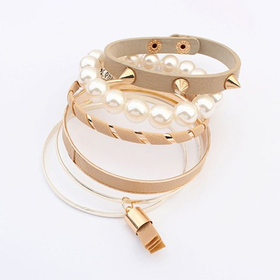 Expression Beige Multilayer Rivet Decorated Design Alloy Fashion Bangles