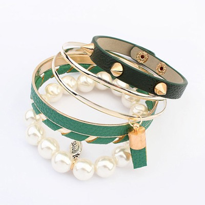 2013 Green Multilayer Rivet Decorated Design Alloy Fashion Bangles