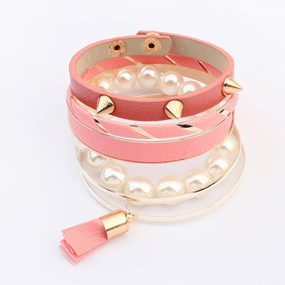 Piercing Pink Multilayer Rivet Decorated Design Alloy Fashion Bangles