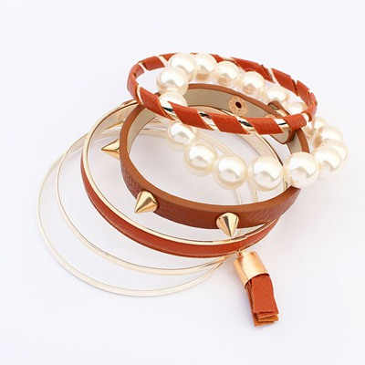 Homemade Coffee Multilayer Rivet Decorated Design Alloy Fashion Bangles