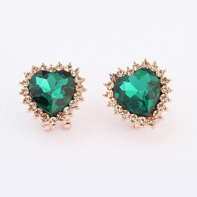 Political Green Heart Shape Design Alloy Stud Earrings
