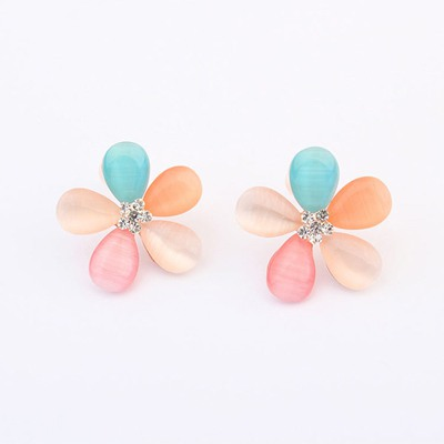 Japanese Multicolor Five Petal Flower Design Alloy Stud Earrings