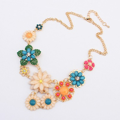 Bridal Multicolor Flowers Decorated Design Alloy Bib Necklaces