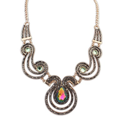 Simple Multicolor Gemstone Decoraed Design Alloy Bib Necklaces