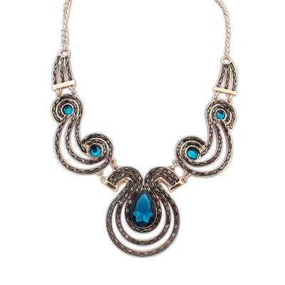 Disposable Sapphire Gemstone Decoraed Design Alloy Bib Necklaces