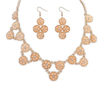 Splendid Orange Flowers Decorated Design Alloy Jewelry Sets