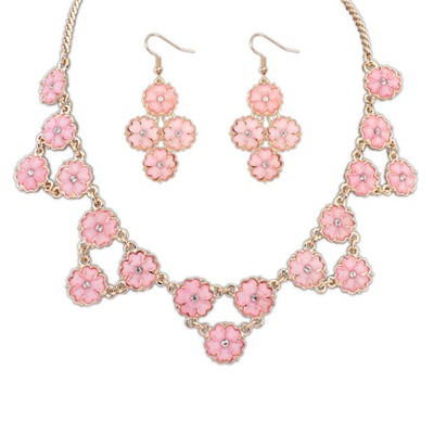 Jockey Pink Flowers Decorated Design Alloy Jewelry Sets