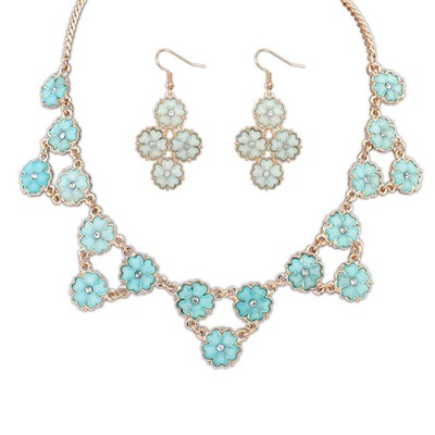 Casual Light Blue Flowers Decorated Design Alloy Jewelry Sets