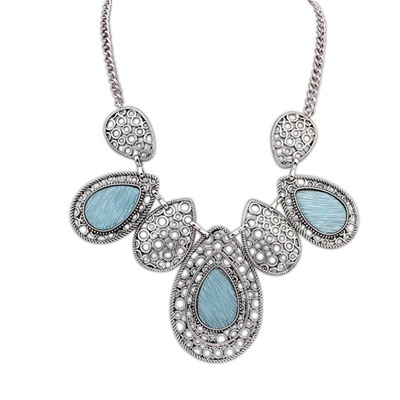 Synthetic Light Blue Hollow Out Water Drop Pendant Design Alloy Bib Necklaces