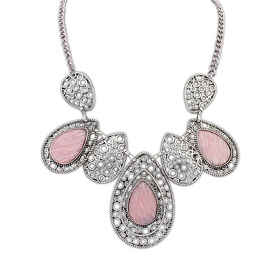 Invicta Pink Hollow Out Water Drop Pendant Design Alloy Bib Necklaces