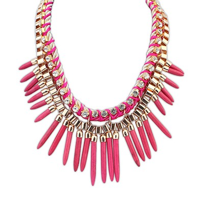 Chiropract Plum Red Rivet Tassels Design Alloy Bib Necklaces