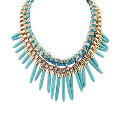 Ladies Blue Rivet Tassels Design Alloy Bib Necklaces