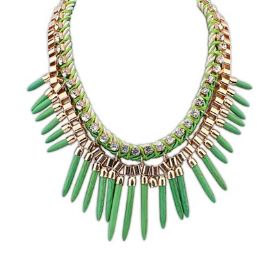 Dash Green Rivet Tassels Design Alloy Bib Necklaces