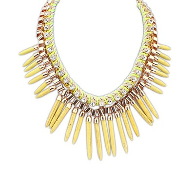 Charm Yellow Rivet Tassels Design Alloy Bib Necklaces