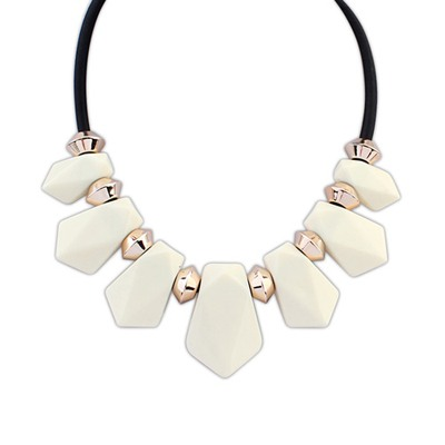 Lightest Beige Senven Beads Geometric Design Resin Bib Necklaces
