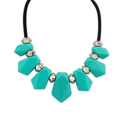 Latest Light Blue Senven Beads Geometric Design Resin Bib Necklaces