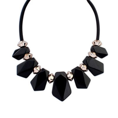 Couture Black Senven Beads Geometric Design Resin Bib Necklaces
