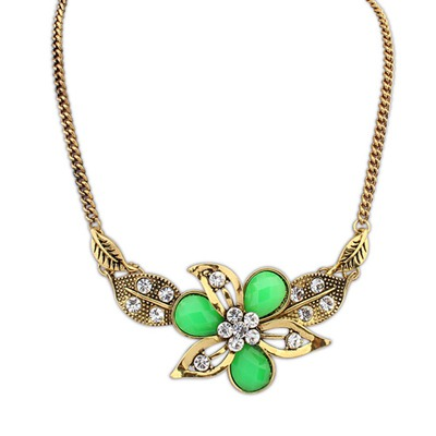 Steelers Green Leaf&Flower Decorated Design Alloy Bib Necklaces