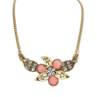 Specialty Pink Leaf&Flower Decorated Design Alloy Bib Necklaces